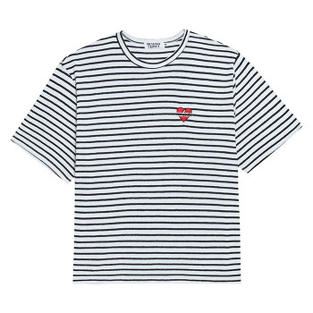 NOMANTIC SEERSUCKER COTTON STRIPE 1/2 T-SHIRTS WHITE