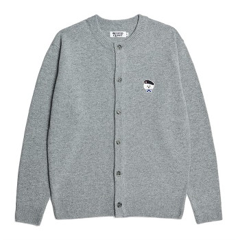[비욘드클로젯] ILP SIGNATURE PARIS LOGO ROUND KNIT CARDIGAN-GRAY