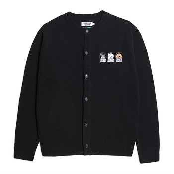 [비욘드클로젯] APOLLO COLLECTION CREW LOGO ROUND KNIT CARDIGAN BLACK