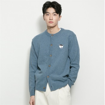 [비욘드클로젯] ILP SIGNATURE PARIS LOGO ROUND KNIT CARDIGAN SKY BLUE