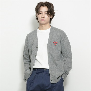 [비욘드클로젯] NOMANTIC LOGO KNIT WOOL CARDIGAN-GRAY