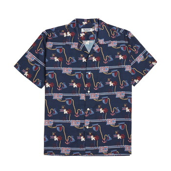 [비욘드클로젯] NEW VOYAGE PATTERN SILKY 1/2 SHIRTS NAVY