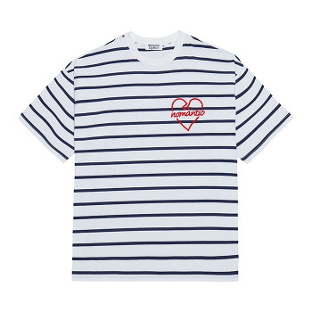 NOMANTIC ROPE STITCH LOGO STRIPE 1/2 T-SHIRTS WHITE