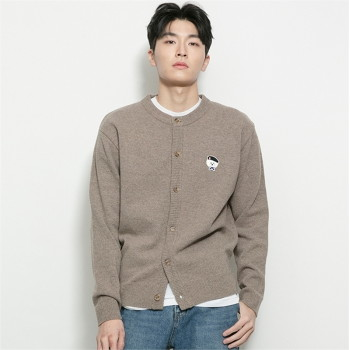 [비욘드클로젯] ILP SIGNATURE PARIS LOGO ROUND KNIT CARDIGAN DEEP BEIGE
