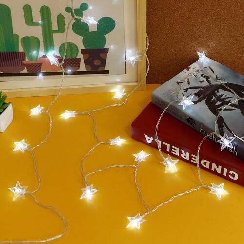 20구 USB LED 별 가랜드 전구 2.5M 백색 줄조명