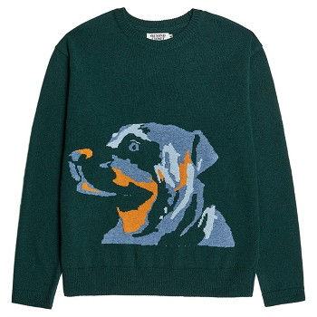 [비욘드클로젯] EARTH DOG LOGO PULL-OVER KNIT GREEN