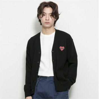 [비욘드클로젯] NOMANTIC LOGO KNIT WOOL CARDIGAN BLACK