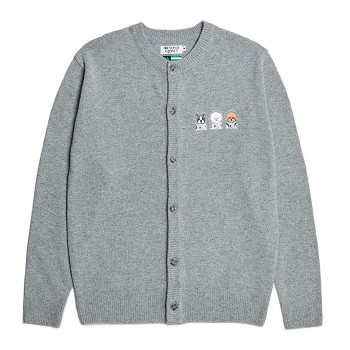 [비욘드클로젯] APOLLO COLLECTION CREW LOGO ROUND KNIT CARDIGAN GRAY
