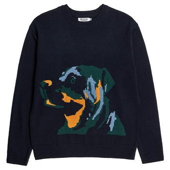 [비욘드클로젯] EARTH DOG LOGO PULL-OVER KNIT NAVY