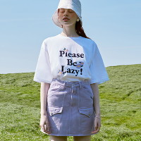 [로라로라](TS-20304) PLEASE BE LAZY T-SHIRT WHITE