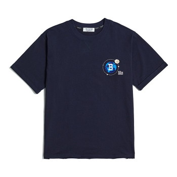 [비욘드클로젯] UNIVERSE LOGO CUTTING 1/2 T-SHIRTS NAVY