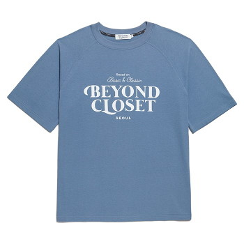 [비욘드클로젯] NEW LOGO WASHED COTTON 1/2 T-SHIRTS BLUE