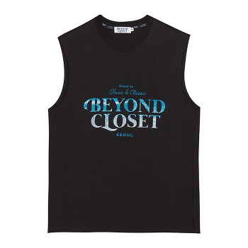 [비욘드클로젯] WAVE LOGO PRINT SLEEVELESS BLACK