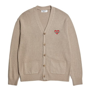 [비욘드클로젯] NOMANTIC LOGO KNIT WOOL CARDIGAN CAPPUCCINO