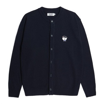 [비욘드클로젯] ILP SIGNATURE PARIS LOGO ROUND KNIT CARDIGAN NAVY